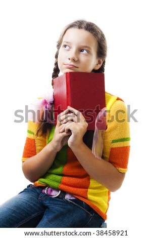 Pensive teenager girl with book, isolated on white - stock photo