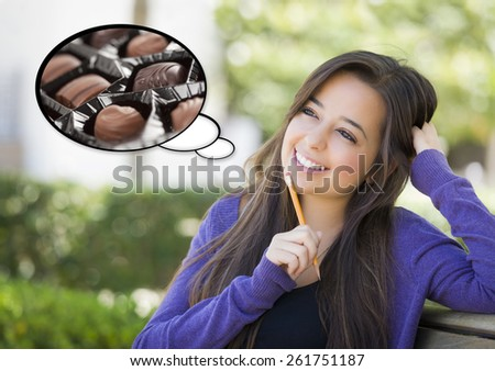 Pensive Woman with Delicious Chocolate Candy Inside Thought Bubble. - stock photo