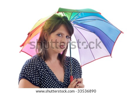 Pensive women with umbrella, isolated on a white background. - stock photo