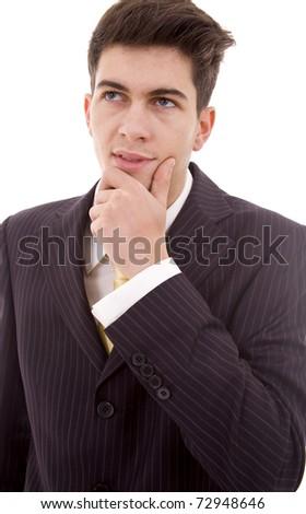 pensive young business man portrait - stock photo