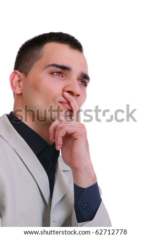 pensive young business man portrait in white background - stock photo