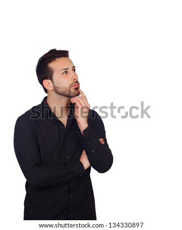 Pensive Young Businessman Isolated On White Background - stock photo