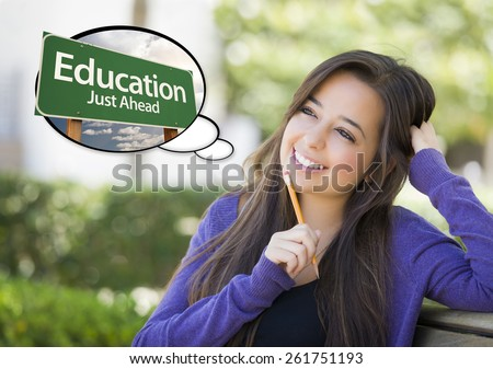 Pensive Young Woman with Thought Bubble of Education Just Ahead Green Road Sign. - stock photo