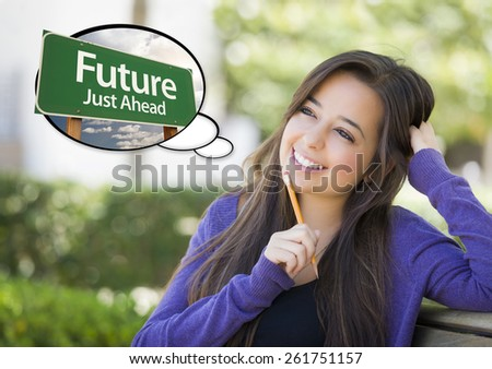 Pensive Young Woman with Thought Bubble of Future Just Ahead Green Road Sign. - stock photo