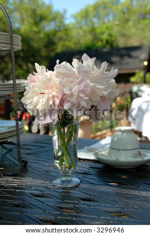Peonies in a vase on an outdoor table with porcelain cup and plates. - stock photo