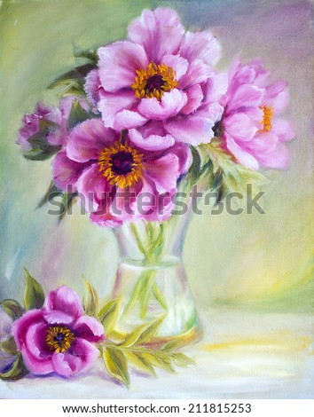 Peonies in vase, oil painting on canvas - stock photo