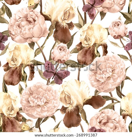 Peonies, irises and butterflies. Retro seamless background. Floral pattern. Watercolor - stock photo