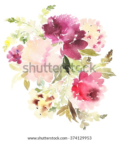 Peonies watercolor background. Handmade. Easter, Mother's Day, wedding, birthday. Abstract flowers. - stock photo