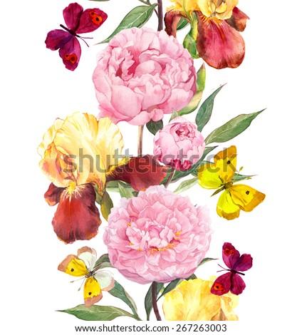 Peony, iris flowers and summer butterflies. Seamless border stripe. Watercolor - stock photo