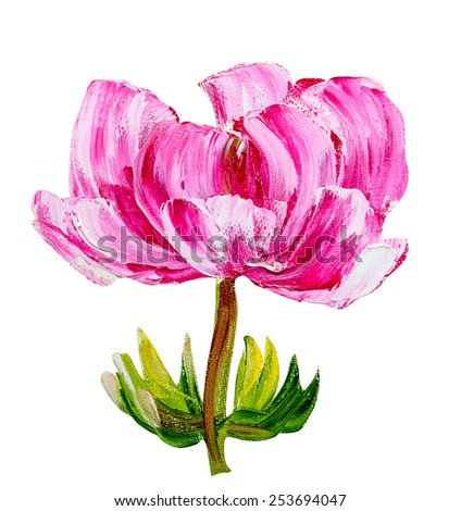 Peony isolated on white, oil painting - stock photo
