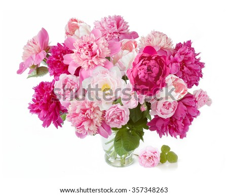 Peony,rose and tulips flowers bunch isolated on white background - stock photo