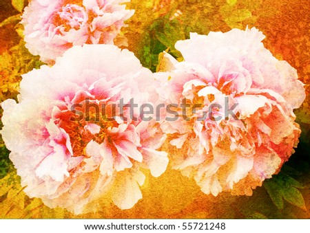 peony - vintage stylized floral picture with patina texture - stock photo