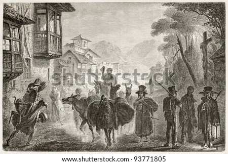 People along the street in Quito, Ecuador, old illustration. Created by Fuchs after Charton, published on Le Tour du Monde, Paris, 1867 - stock photo