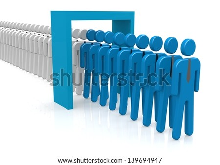 People and door blue - stock photo