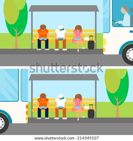 People are waiting a bus and using gadgets at this time. - stock photo