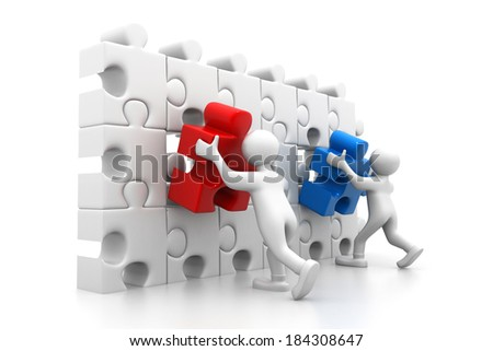 People arranging the important part - stock photo