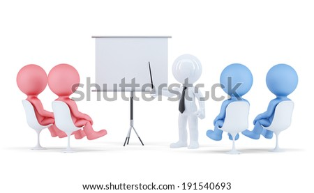 People at conference. Business concept Isolated. Contains clipping path of scene and board. - stock photo