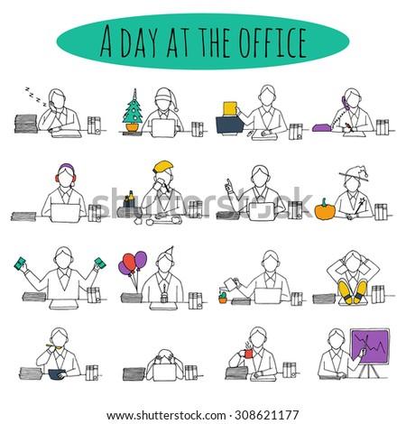 People at office desk working managers businessmen sketch avatars set  illustration - stock photo