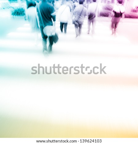 people at pedestrian crossing in big city street abstract blur - stock photo