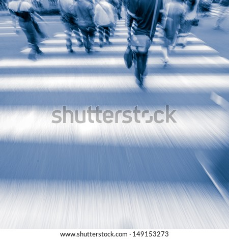 people at pedestrian crossing  in big city street blur motion - stock photo