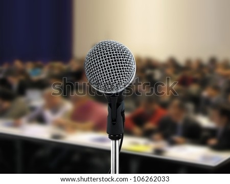People attending seminar - stock photo