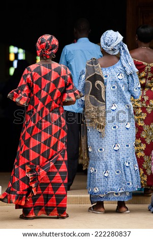 people attending the sunday mass, village of Fadiouth, Senegal - stock photo