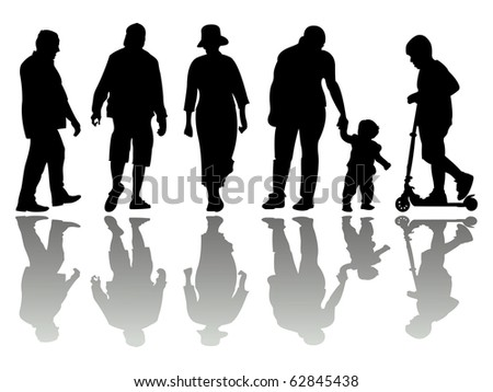 people black silhouettes 4 against white background, abstract art illustration; for vector format please visit my gallery - stock photo
