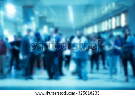 People blur of commuters in New York City  Penn Station train station - stock photo