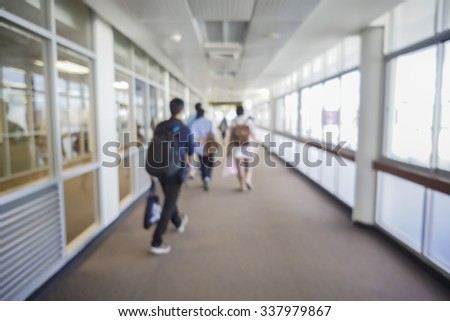 people boarding the airplane at the gate and Passenger plane up,Airport terminal,vintage color - stock photo
