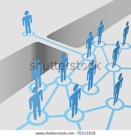 People bridge a gap to connect and join network nodes in a merger team - stock photo