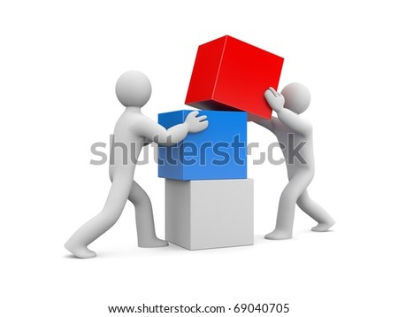 People build wall. Image contain clipping path - stock photo