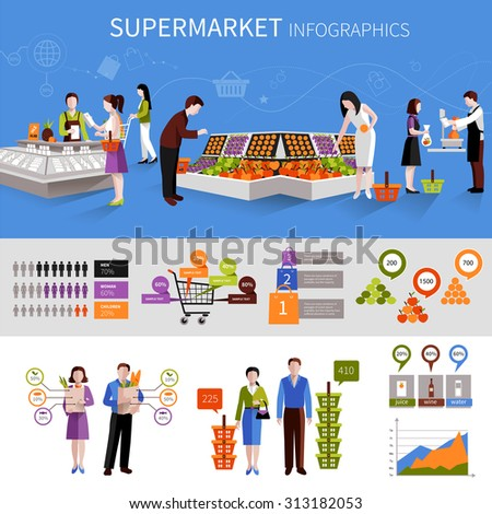People buying food products in supermarket infographics set with charts  illustration - stock photo