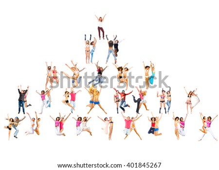 People Celebrating Jumping Together  - stock photo