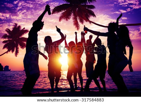 People Celebration Beach Party Summer Holiday Vacation Concept - stock photo