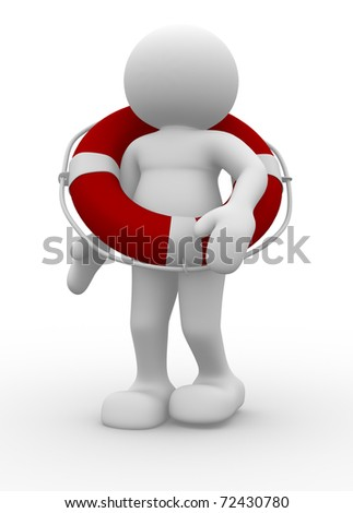 People character with lifebuoy - 3d render illustration - stock photo