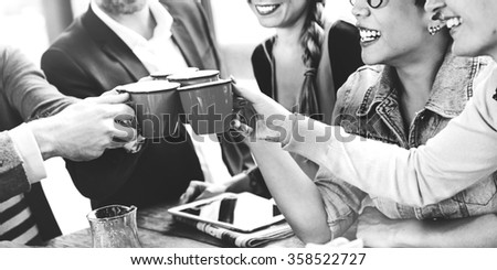 People Cheers Coffee Happiness Friends Concept - stock photo