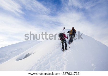 People Climbing Mont Blanc in Alps, France - stock photo