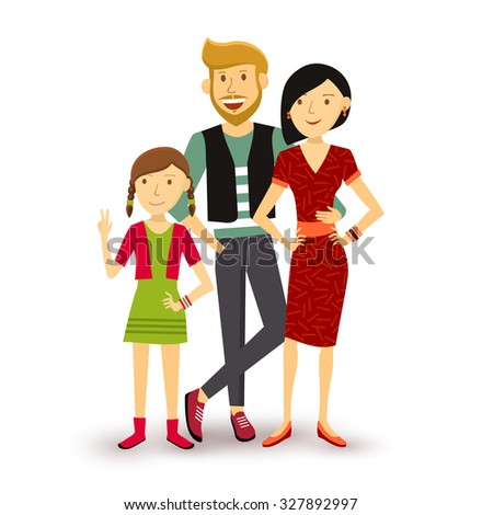 People collection: one child happy family group generation with dad, mom and young daughter in flat style illustration.  - stock photo