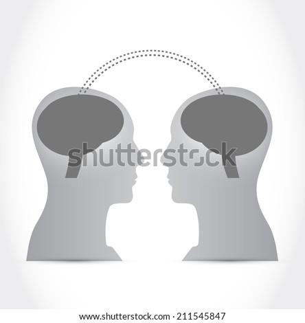 people communication brain intelligence illustration design over a white background - stock photo