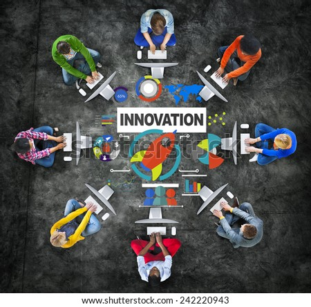 People Computer Meeting Creativity Growth Success Innovation Concept - stock photo