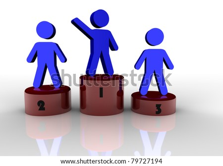 People concept of first, second and third place - stock photo