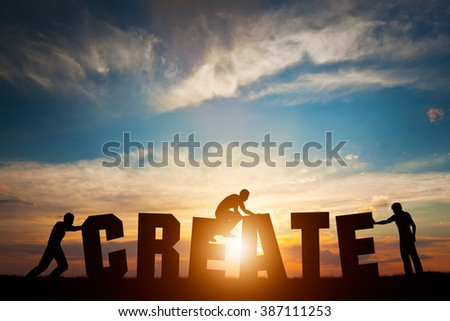 People connect letters to compose the CREATE word. Creativity, making art, teamwork concept, idea. Sunset positive light. - stock photo
