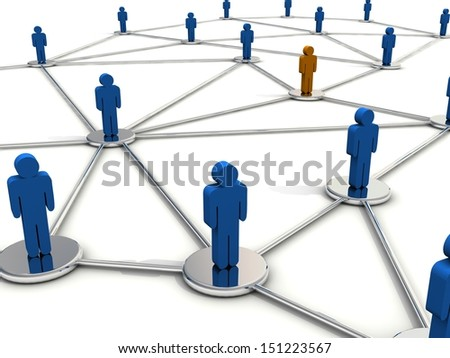 People connection concept. Orange man is different from other - stock photo