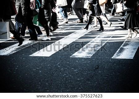 People,crosswalk - stock photo