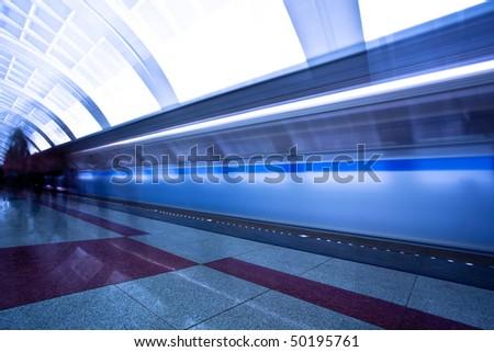 People crowd on platform - stock photo