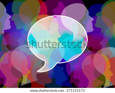 People crowd symbol as a large public group shaped as a speech or chat bubble as an icon for society and population communication and social media discussion. - stock photo