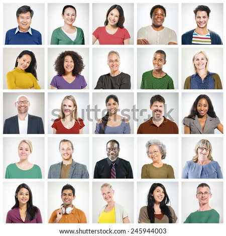 People Diversity Faces Human Face Portrait Community Concept - stock photo