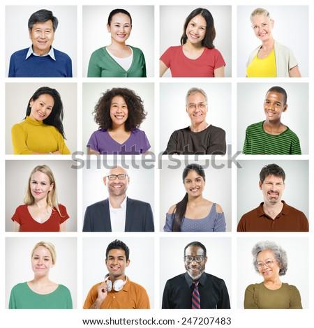 People Diversity Faces Human Face Portrait Community Concept - stock photo