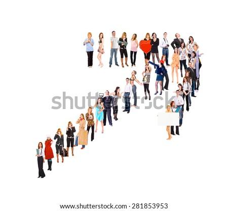 People Diversity Team over White  - stock photo