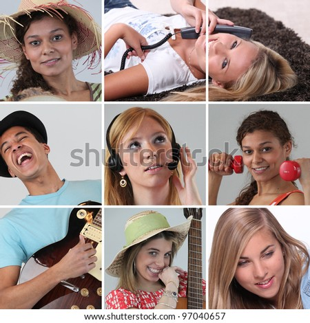 people doing fitness, guitar or at phone - stock photo